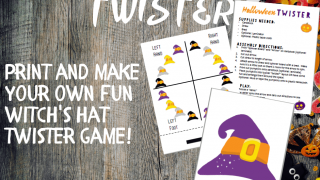 Free Printable Witch Hat Twister Halloween Game