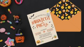 Free Editable Halloween Party Invitations & Envelope Liners