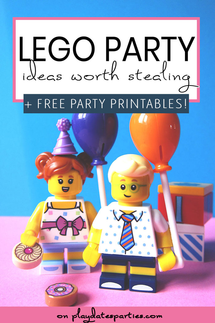 Lego minifigures holding party balloons with the text Lego Party Ideas worth stealing plus free party printables