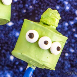 close up of finished toy story alien marshmallow pops
