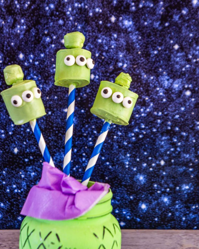 Toy Story alien marshmallow pops display in a painted mason jar