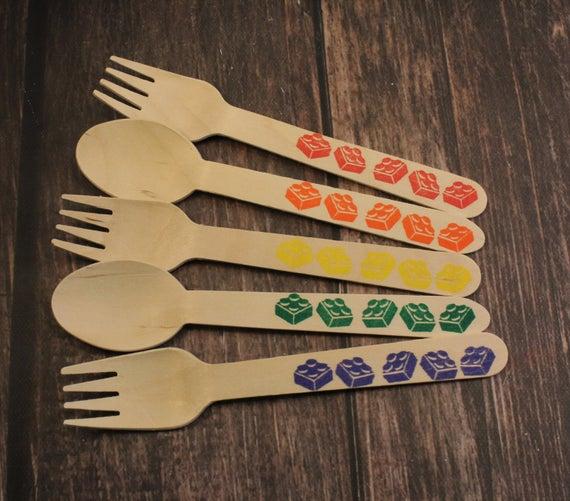 Hand Stamped Lego Wooden Utensils