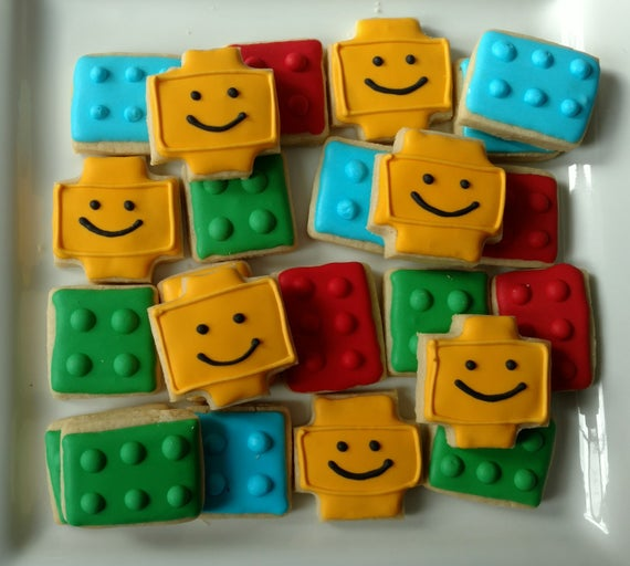 Colorful Iced Lego Sugar Cookies