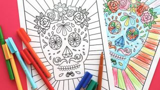 Free Halloween Printable: Day of the Dead Sugar Skull Colouring Page