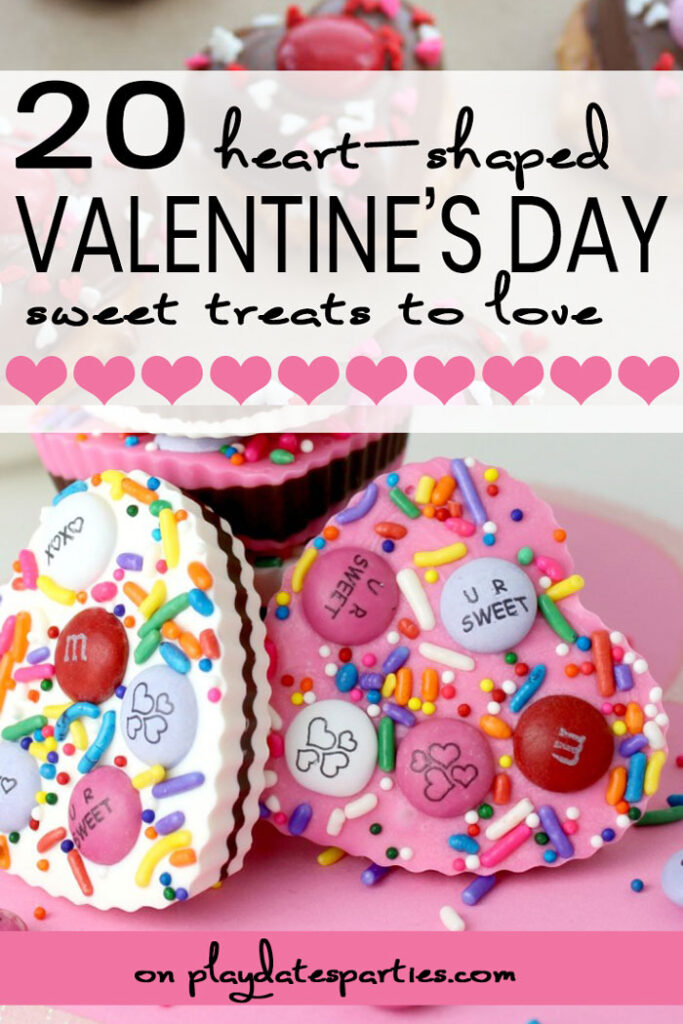 collage of heart shaped treats with text 20 heart shaped Valentine's day treats to love