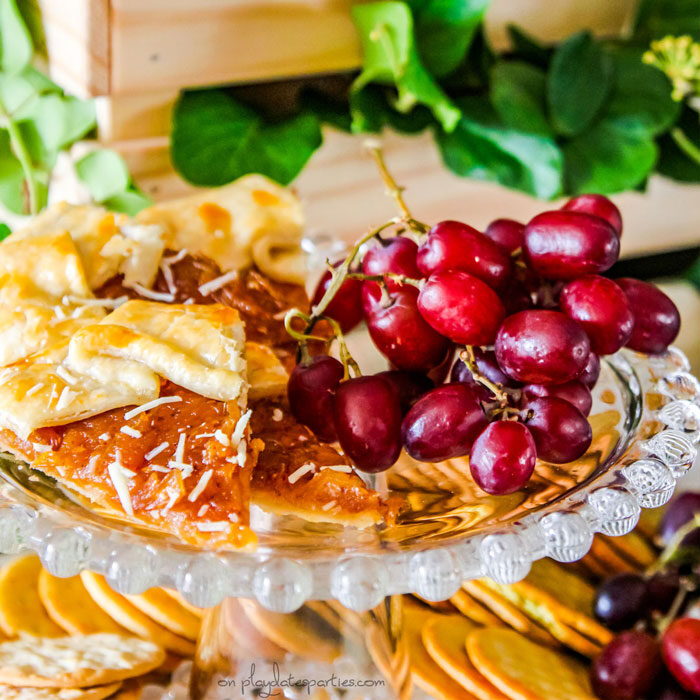 Thanksgiving appetizers on a clear cake stand