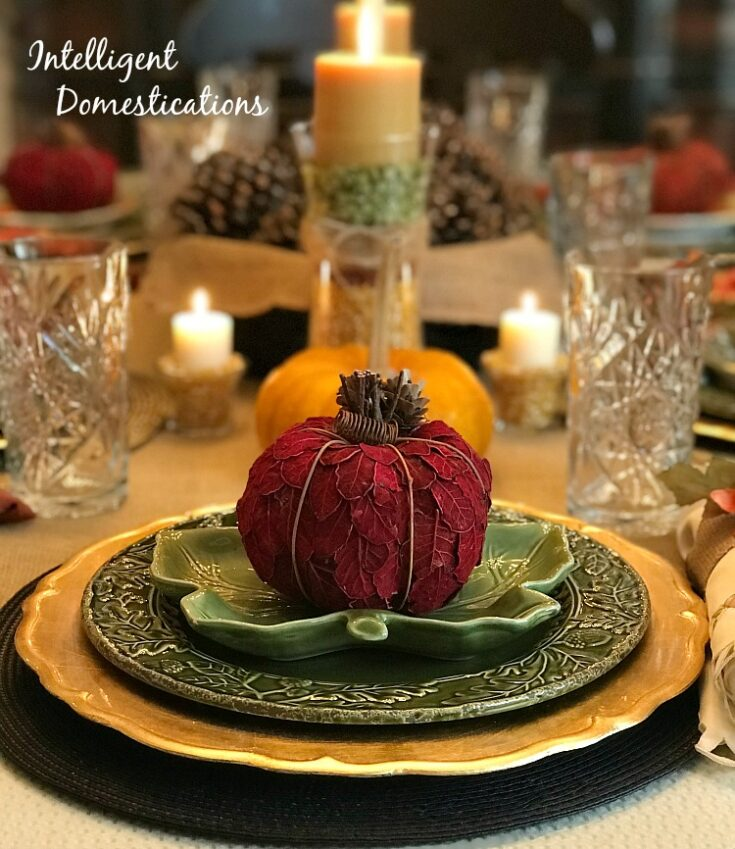 Gold and Green Glass Thanksgiving Table Setting