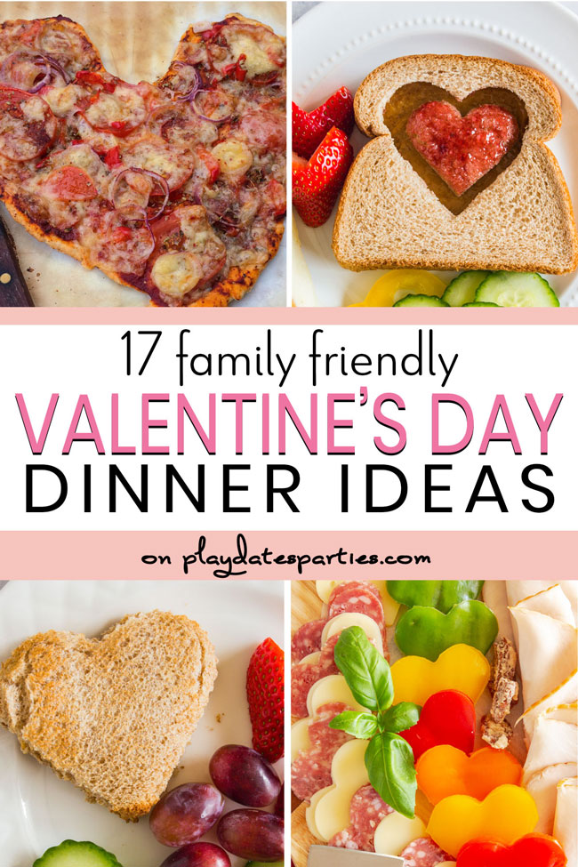 collage of heart shaped meals with text 17 family friendly Valentine's Da Dinner Ideas
