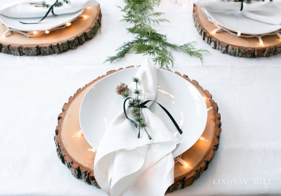 Wood Chargers with Twinkling White Plates