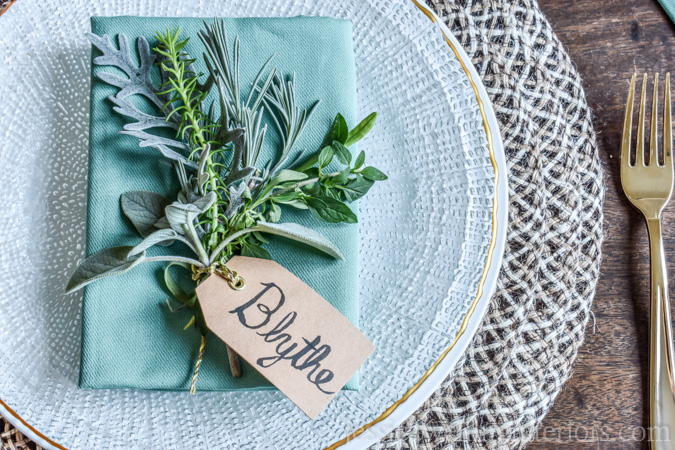 Simple Place Card Holders With Fresh Herbs & Flowers