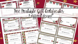 FREE Printable Christmas Gift Certificates: 7 Designs, Pick Your Favorites