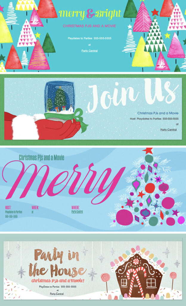 Christmas party invitations at Evite