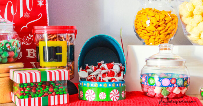 close up of Christmas pajama party treats