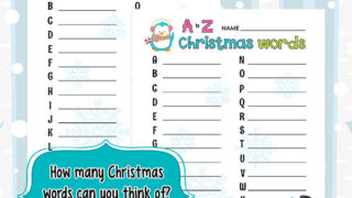 A to Z Christmas Words Worksheet and Game Idea