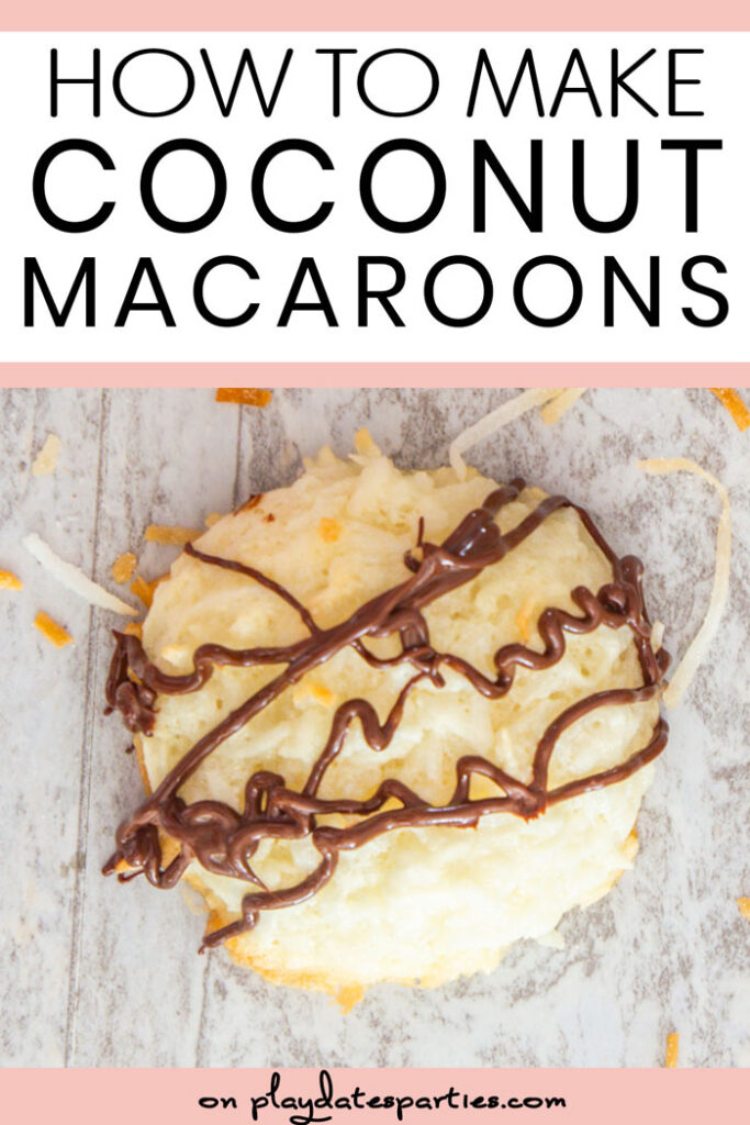 Close up of coconut macaroon with text how to make coconut macaroons