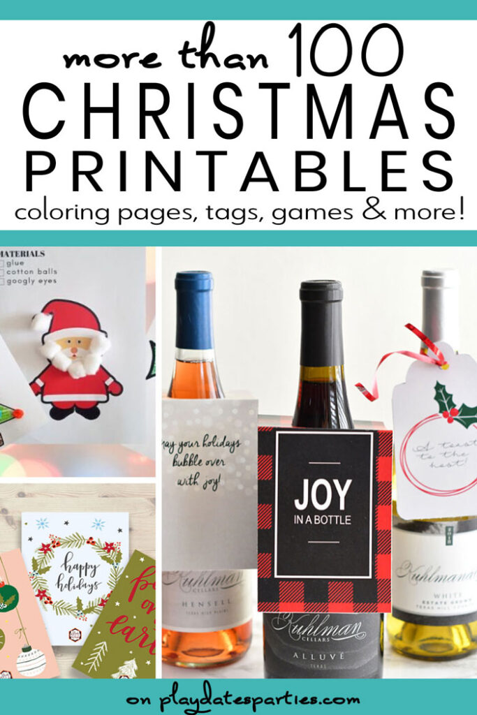 collage of free Christmas games, decor, and tags with text more than 100 Christmas printables