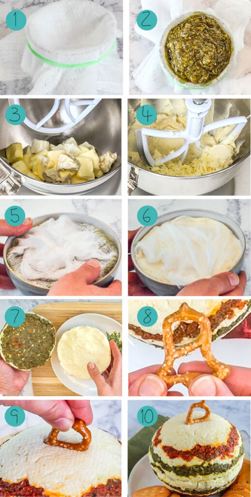 collage of the main steps showing how to make an edible ornament shaped cheese ball