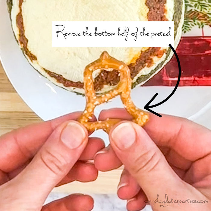 Showing what parts of the pretzel to remove for the ornament hook