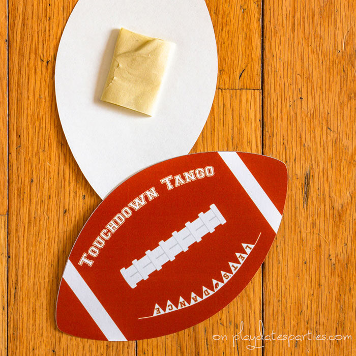 football cutouts with labels Touchdown Tango and Let's Dance