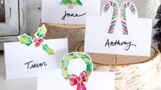 Watercolor Christmas Place Cards Printable