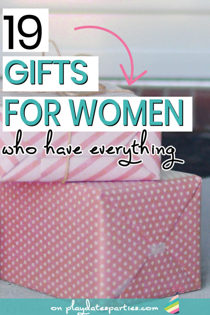 Packages with pink wrapping paper and the text 19 gifts for women who have everything