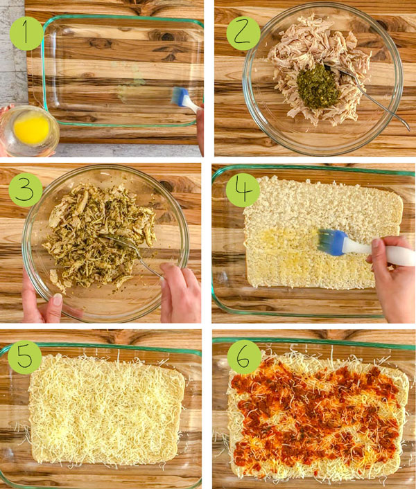 how to make chicken pesto sliders, steps 1 to 6