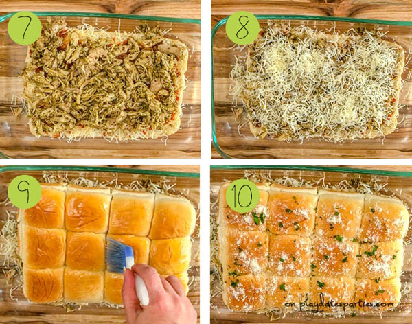 how to make chicken pesto sliders, steps 7 to 10