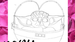 Free Baby Yoda inspired coloring sheet for kids