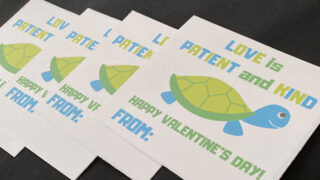 Printable Valentines Cards for Kids: A Turtle with a Positive Message