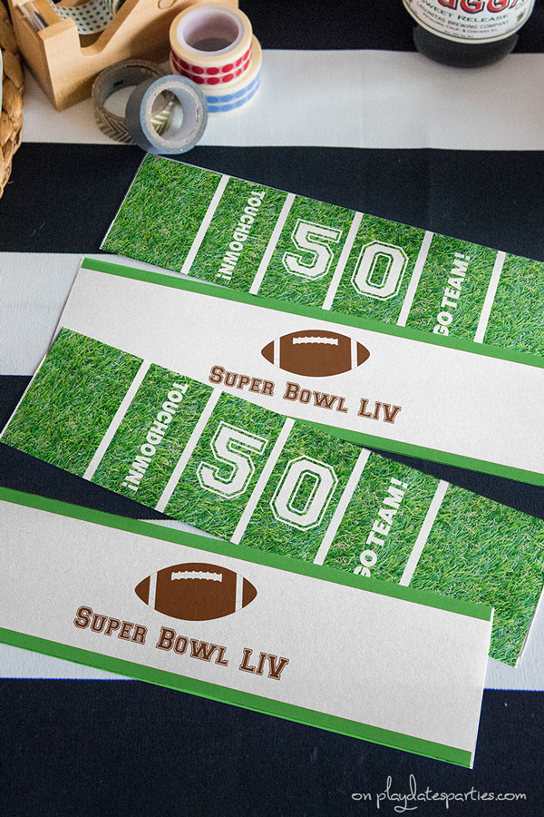 Generic Super Bowl printables in green, brown, and white