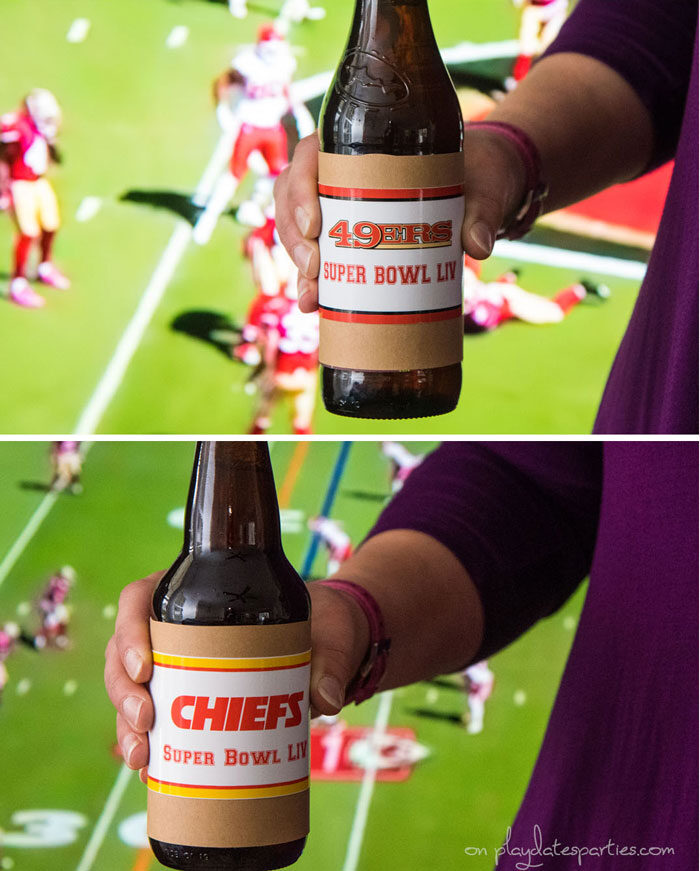 Printable bottle label for the San Francisco 49ers and Kansas City Chiefs- Super Bowl LIV
