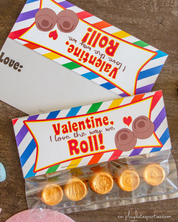 Front and back of Valentine's Day bag toppers with Rolo candy