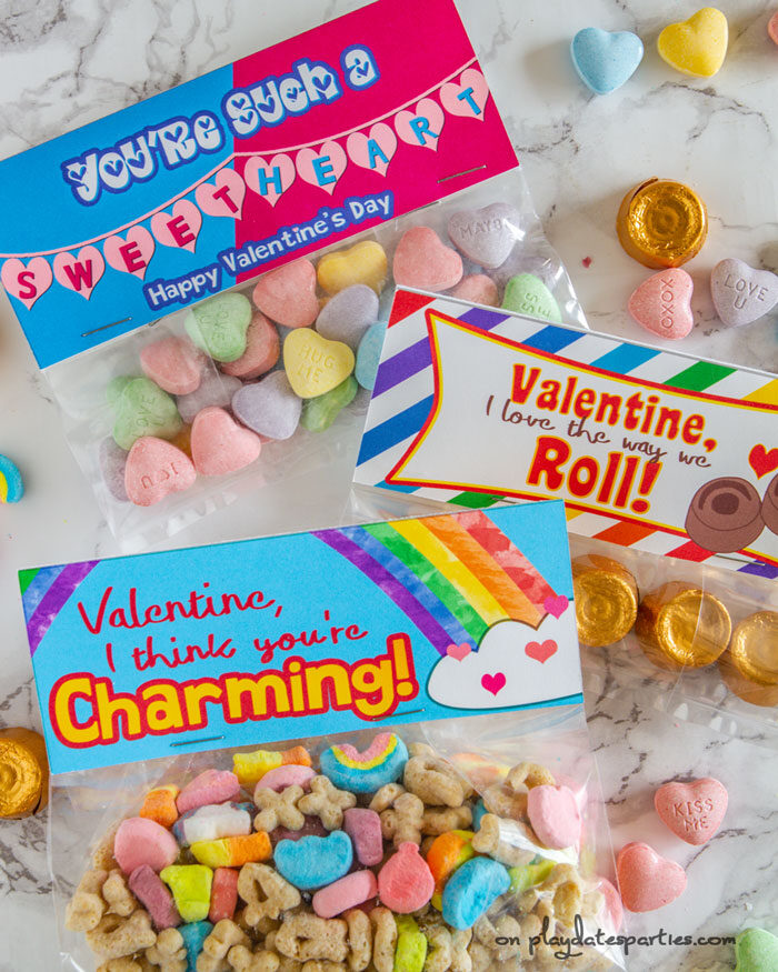 Valentines day treat bags themed for Rolo candy, sweet hearts, and Lucky Charms