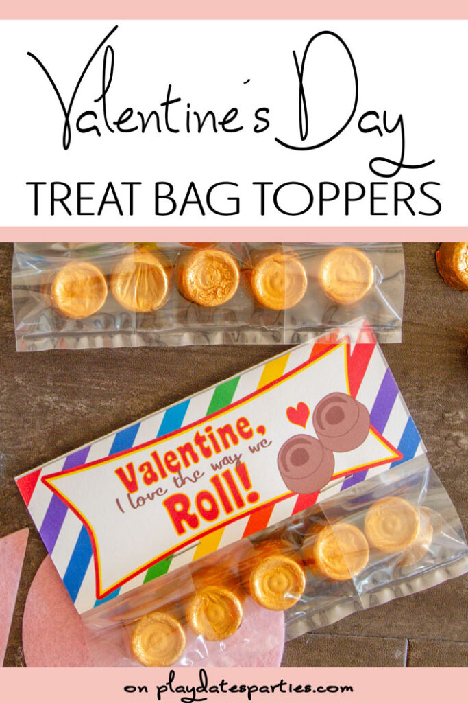 Rolos in a treat sack with a rainbow bag topper with a text overlay Valentine's Day treat bag toppers