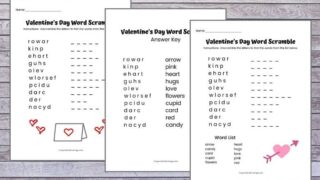 Valentine's Day Word Scramble FREE Printable with Answer Key