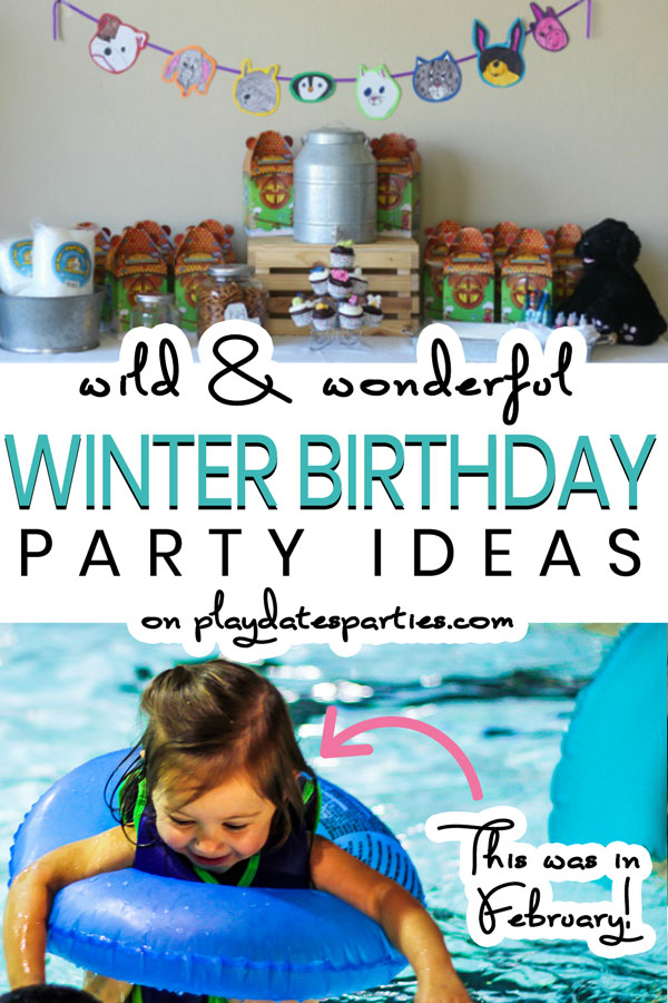 collage of two kids parties with text overlay Wild and Wonderful winter birthday party ideas for kids