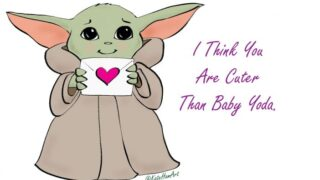 Baby Yoda FREE Printable Valentine's Day Cards for you!