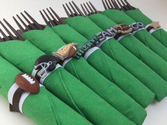 Football Themed Flatware Wraps