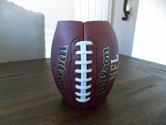 Flower vase made from a real football