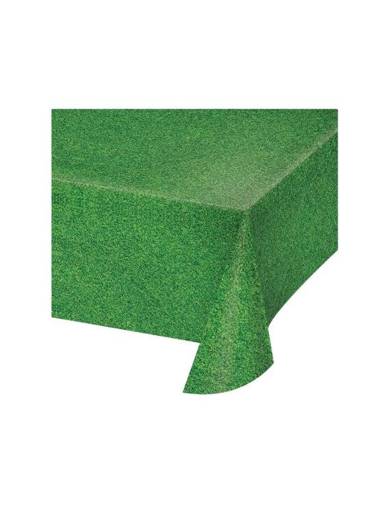 Green grass print plastic tablecloth
