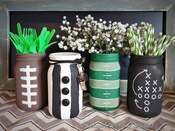 Mason Jar Football Painted Centerpieces