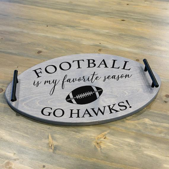 Rustic Football Shaped Serving Tray