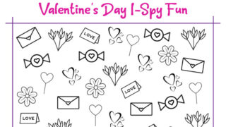 Valentines Day I Spy Printable Worksheet for Counting and Coloring Fun