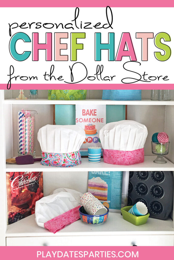 Kids chef hats with colorful bands and the text personalized chef hats from the Dollar Store