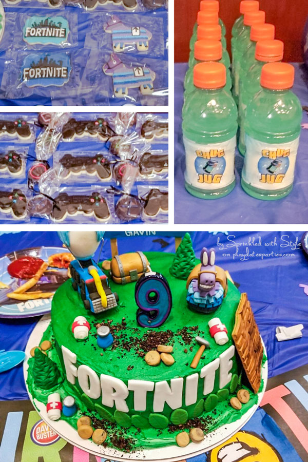 collage of Fortnite party food ideas including chug jug bottles, game controller cookies, llama cookies, and a custom cake