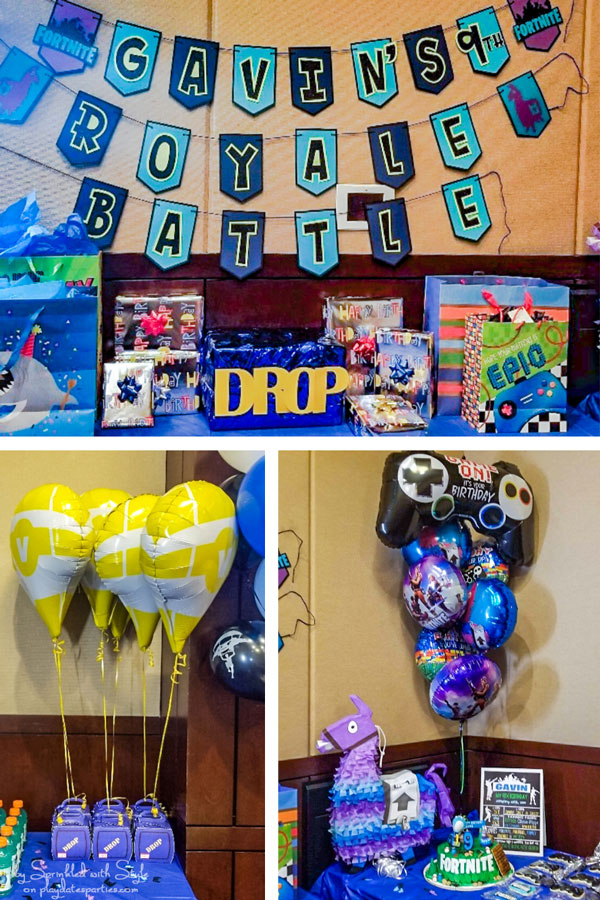 Collage of Fortnite theme party ideas including a custom banner, balloons, drop box with v bucks balloons, and loot llama pinata