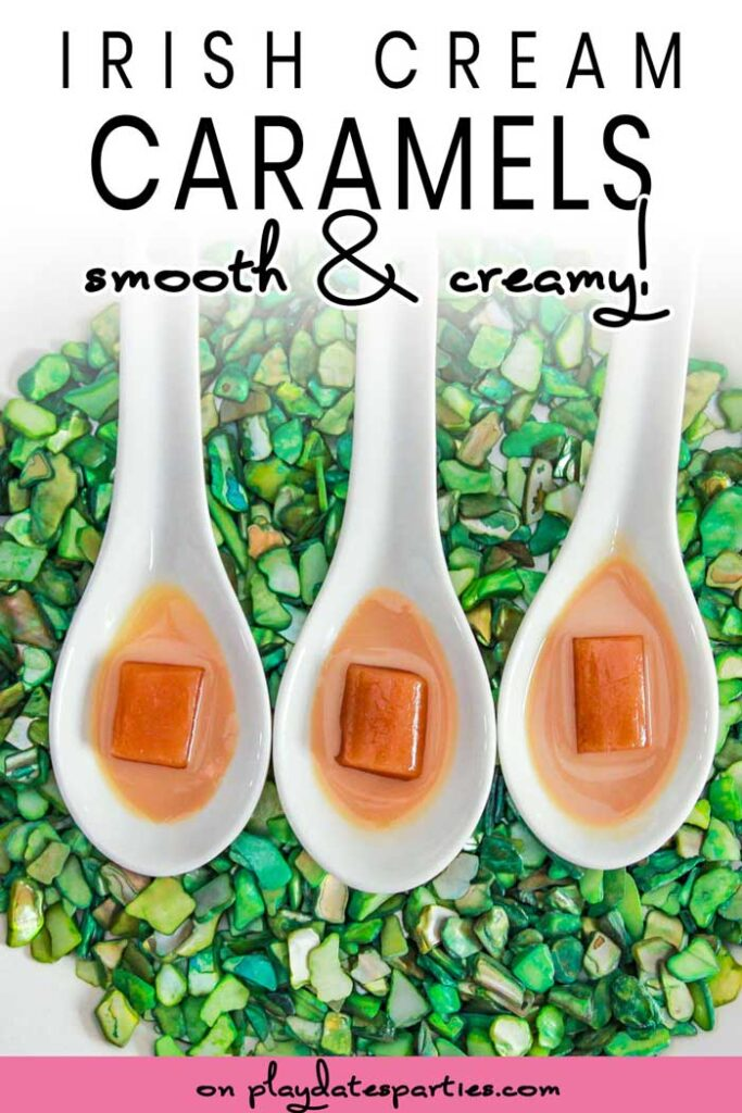 Irish cream caramels sitting in appetizer spoons with Irish cream