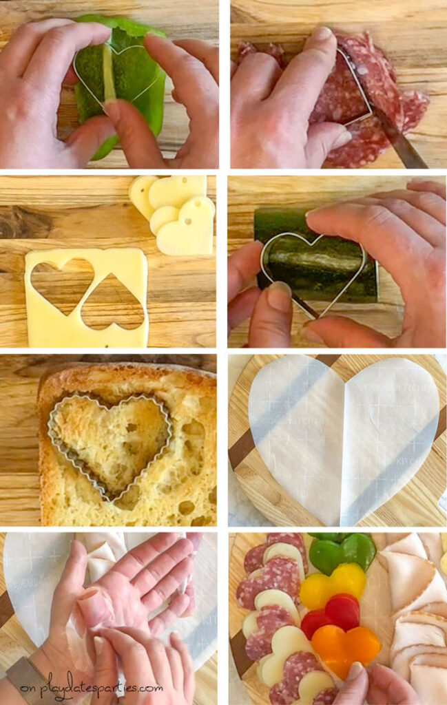 How to cut out heart shaped ingredients for a charcuterie board