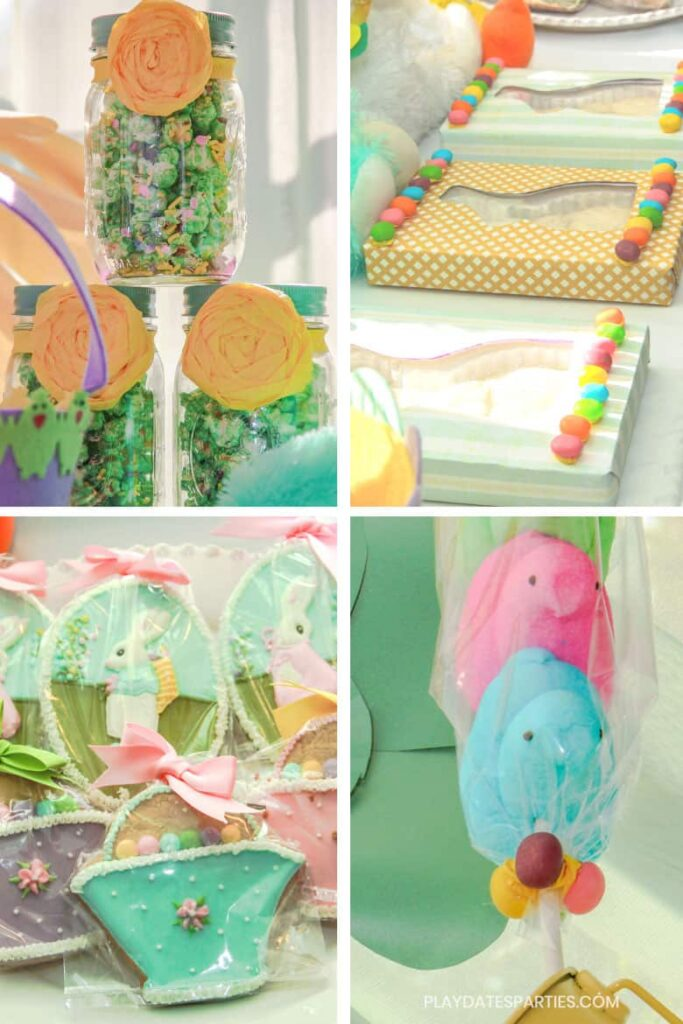 collage of Easter treats, including green popcorn, chocolate bunnies, sugar cookies, and peeps