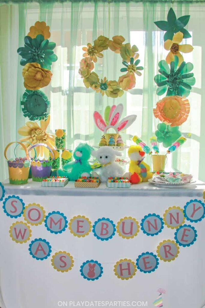 Buffet of Easter treats with aqua and yellow color scheme